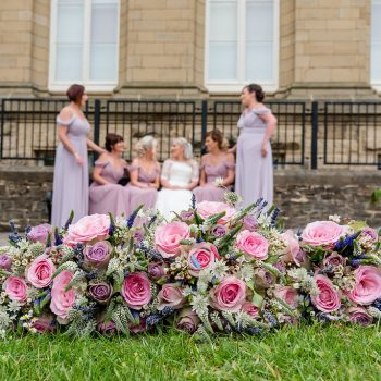 Bridesmaids and flowers at Victoria Hall