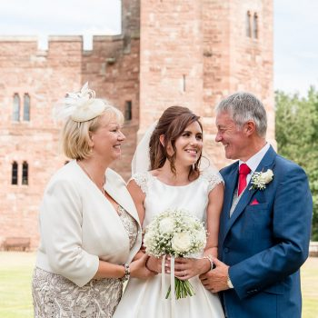 Bride and Parents at Peckforton Castle