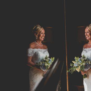 Bride reflection at Hazlewood Castle