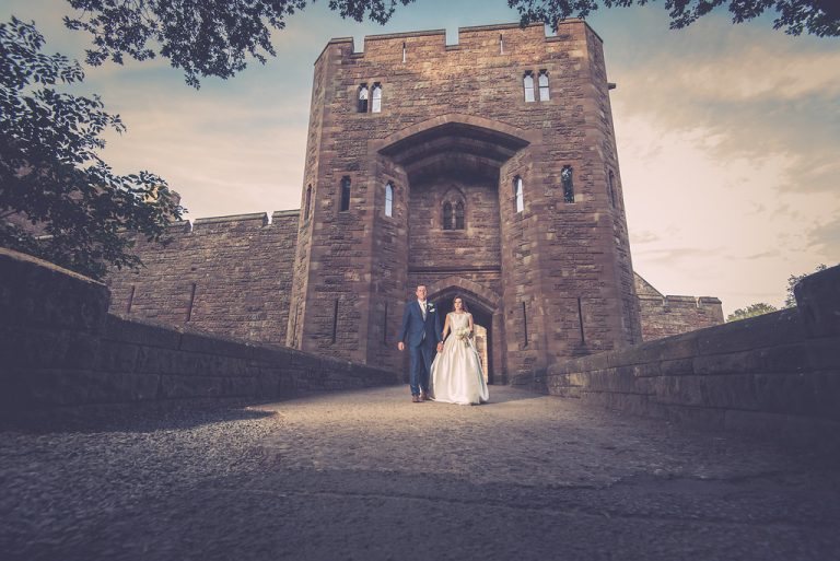 Bride and Groom at Peckforton Castle