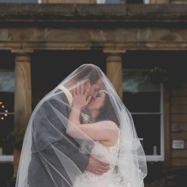 Bride and Groom under veil at Waterton Park