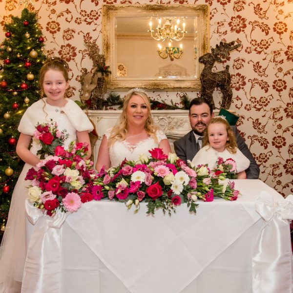 Family wedding photograph at Bagden Hall near Wakefield