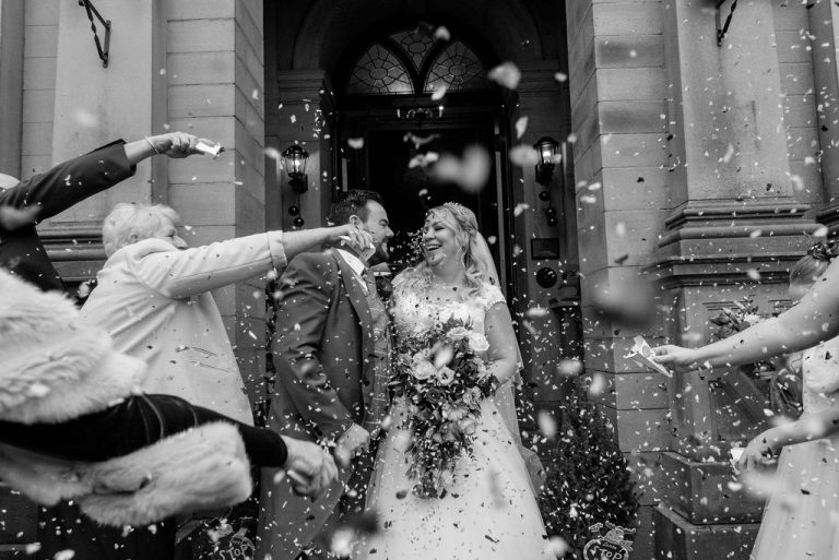 Confetti photograph at Bagden Hall near Wakefield