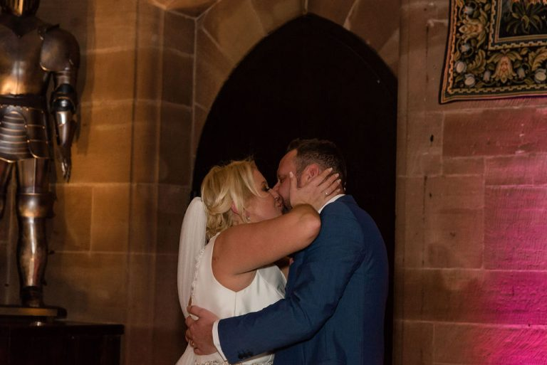 First kiss at Peckforton Castle