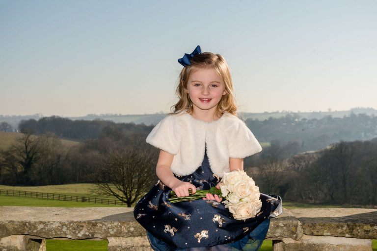 Flower girl at Wood Hall in Yorkshire