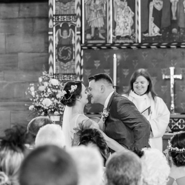 First Kiss at Wakefield Wedding