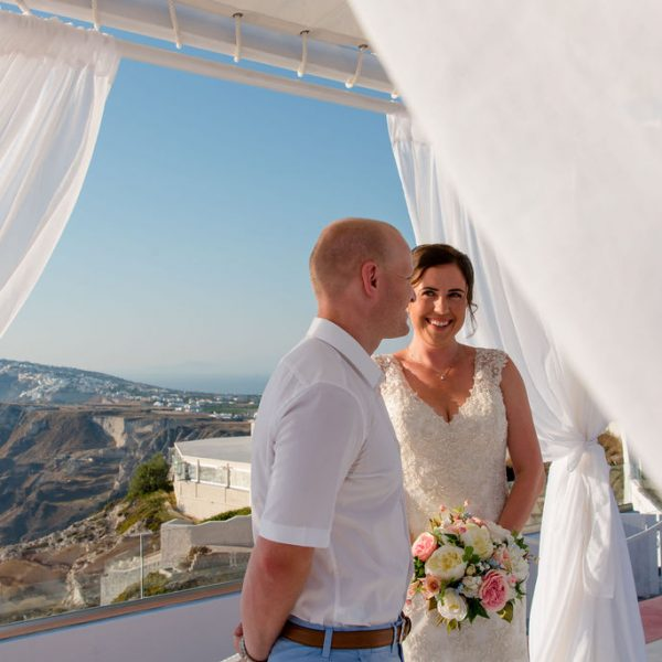 Bride and Groom at Santorini wedding