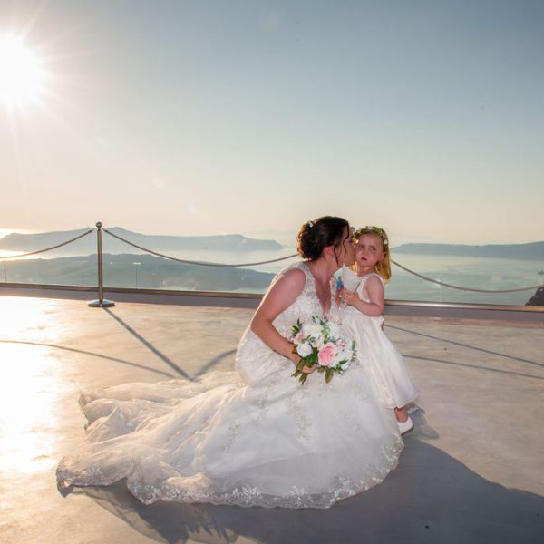 Bride and daughter at Santorini