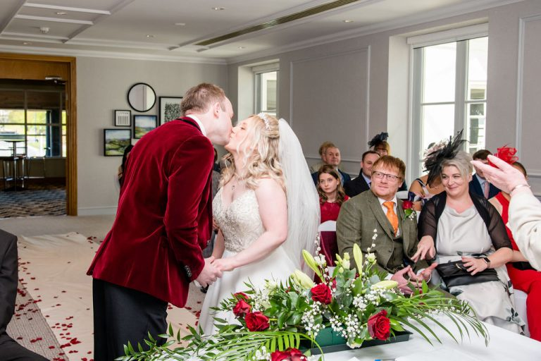 First Kiss Groom at Thorpe Park Hotel Leeds