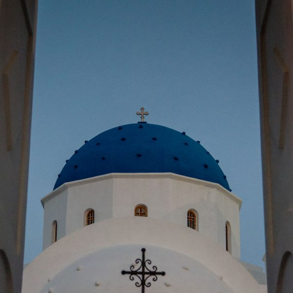 Blue Dome of Perissa in Santorini