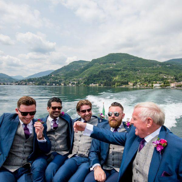Groomsmen on way to Isola Del Garda Wedding