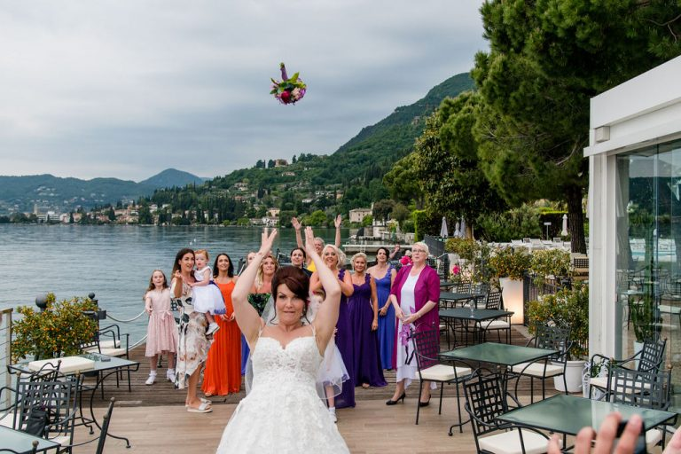 Bouquest Toss at Lake Garda Wedding
