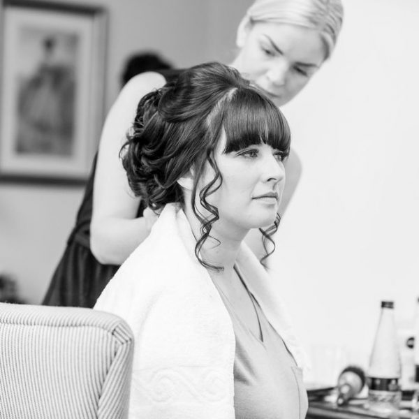 Bride getting ready at Waterton Park Wakefield
