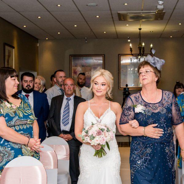 Bride entrance Healds Hall Wedding Venue