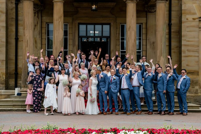 Full wedding party Groomsmen at Oulton Hall Wakefield