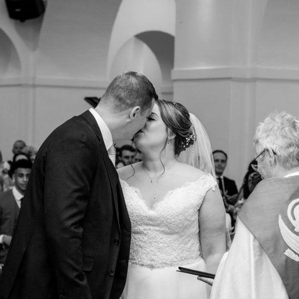 First Kiss at Mirfield Monastery wedding