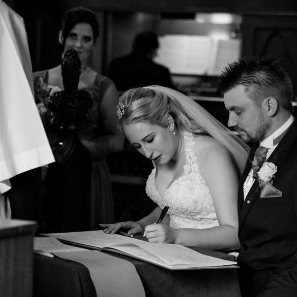 Wakefield wedding bride signing