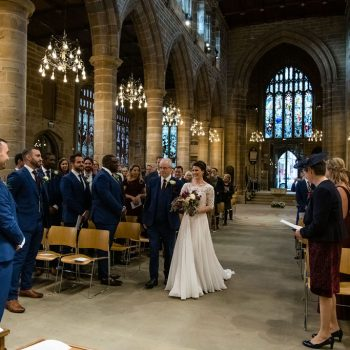 Bride arriving at Wakefield cathedral