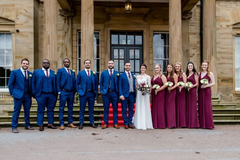 Bridesmaids and groomsmen at Oulton Hall