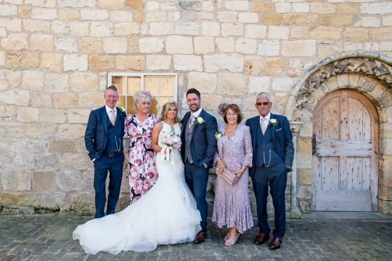 Family wedding photo at Priory Cottages Wetherby
