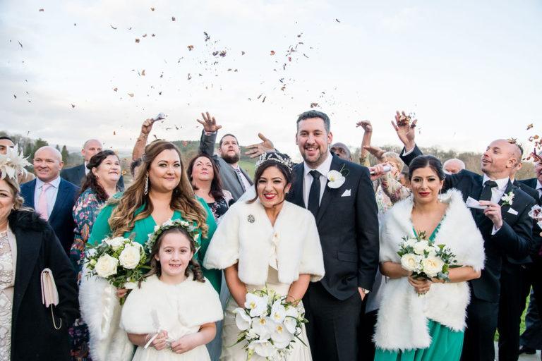 Confetti at Coniston near Skipton Wedding