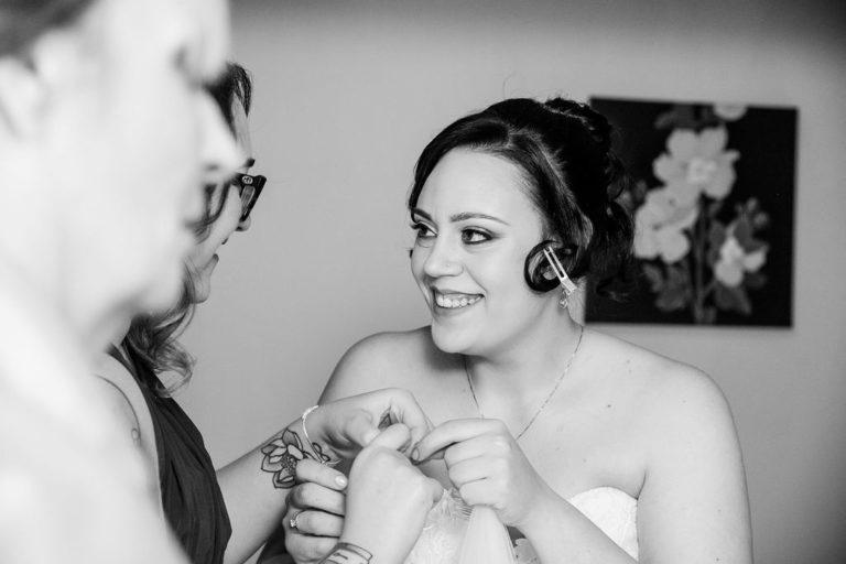 Bride getting ready at Waterton Park wedding
