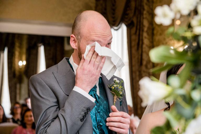 Emotional groom at Waterton Park wedding