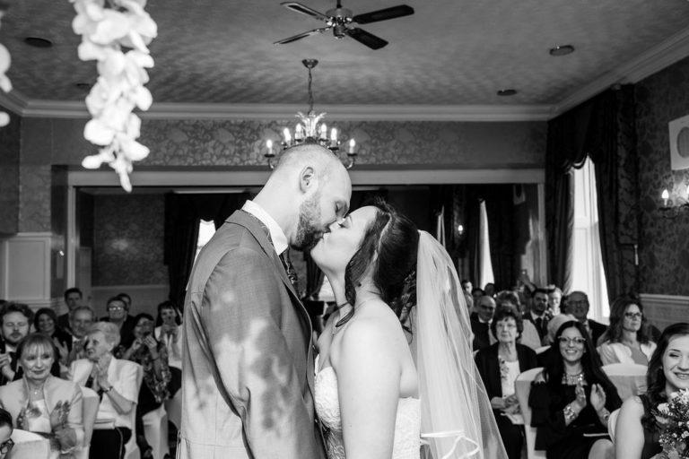 First Kiss at Waterton Park wedding
