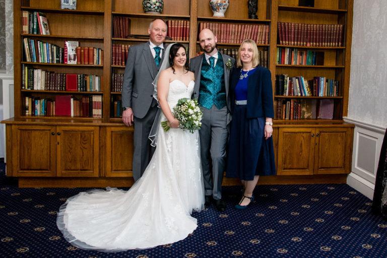 Group photo at Waterton Park wedding