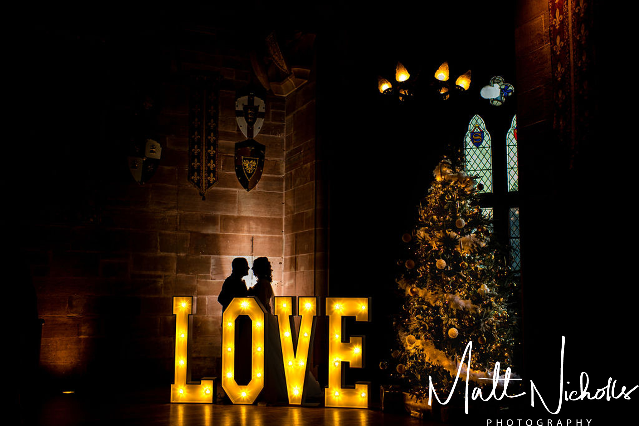 Christmas wedding at Peckforton Castle