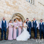 Bride, Groom, Bridesmaids and Groomsmen at Priory Cottages Wedding