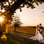 Sunset wedding photograph Priory Cottages Wedding